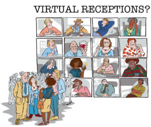 cartoon comparing face to face with virtual reception